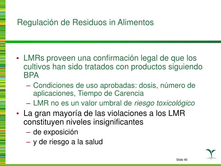Regulación de Residuos in Alimentos