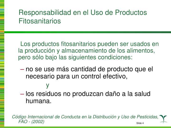 Responsabilidad en el Uso de Productos Fitosanitarios