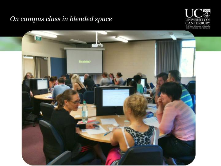 On campus class in blended space