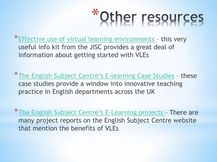 Effective use of virtual learning environments