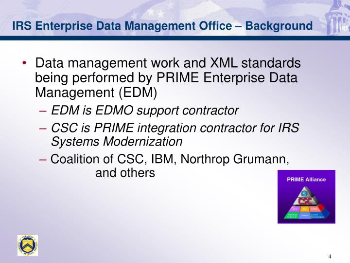 IRS Enterprise Data Management Office – Background