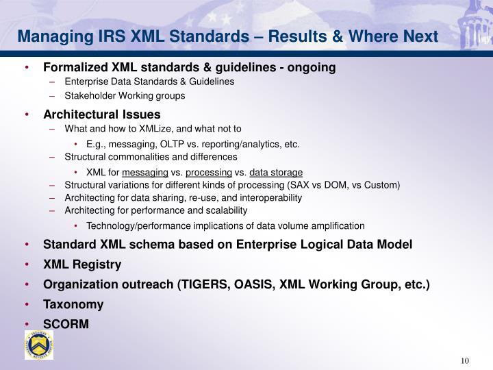 Managing IRS XML Standards