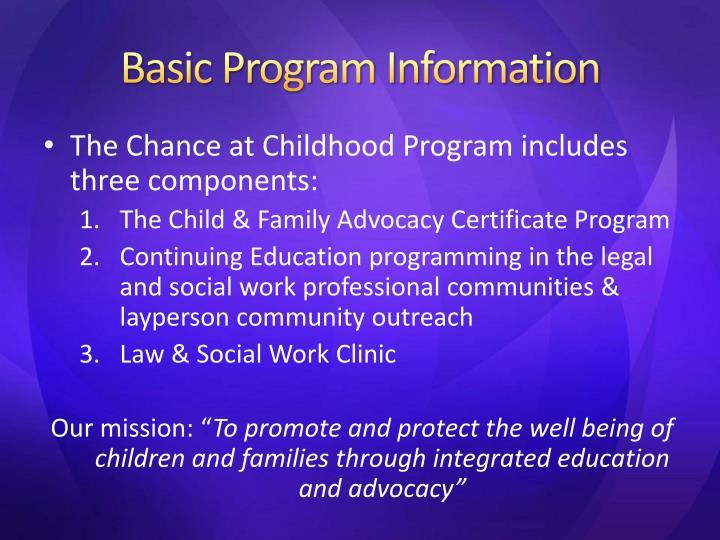 Basic Program Information