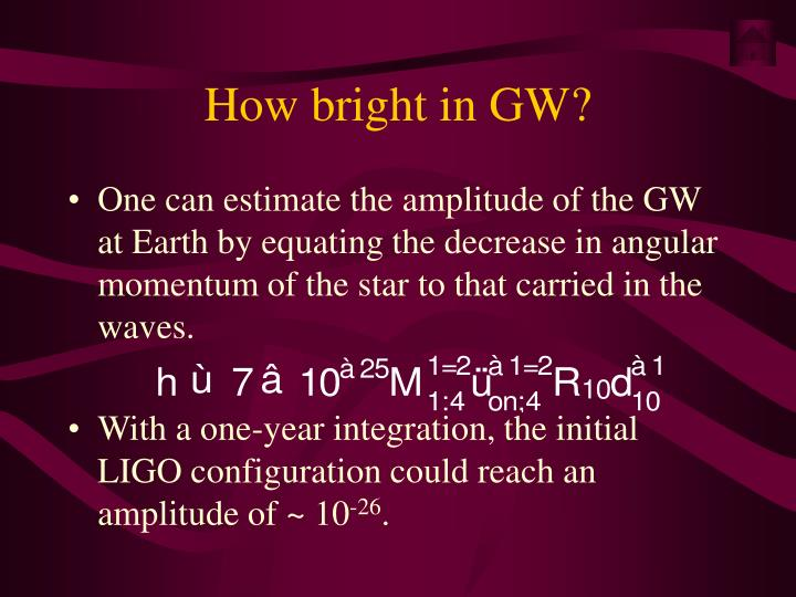 How bright in GW?