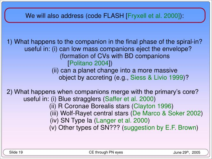 We will also address (code FLASH [