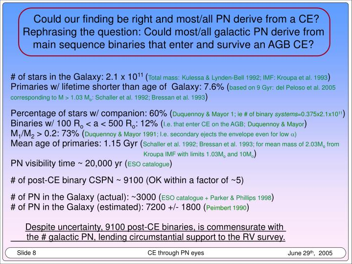 Could our finding be right and most/all PN derive from a CE?