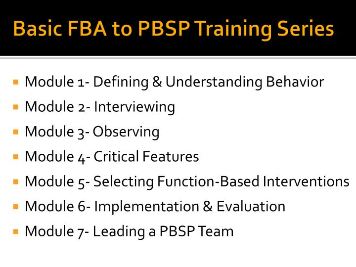 Basic FBA to PBSP Training Series