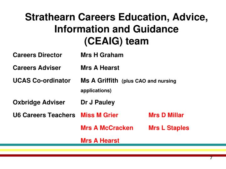 Strathearn Careers Education, Advice, Information and Guidance