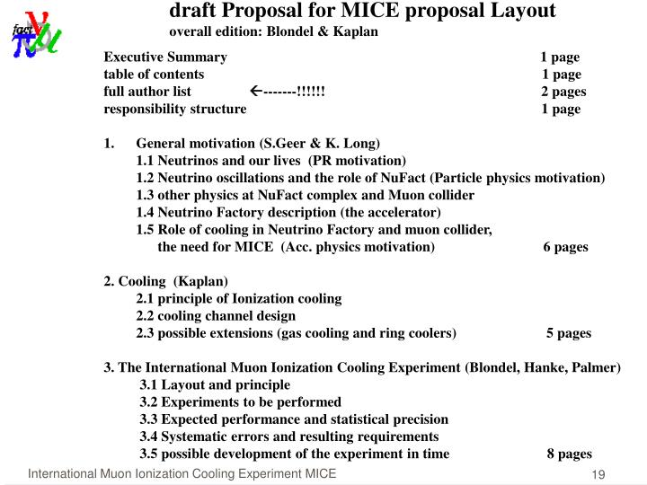 draft Proposal for MICE proposal Layout