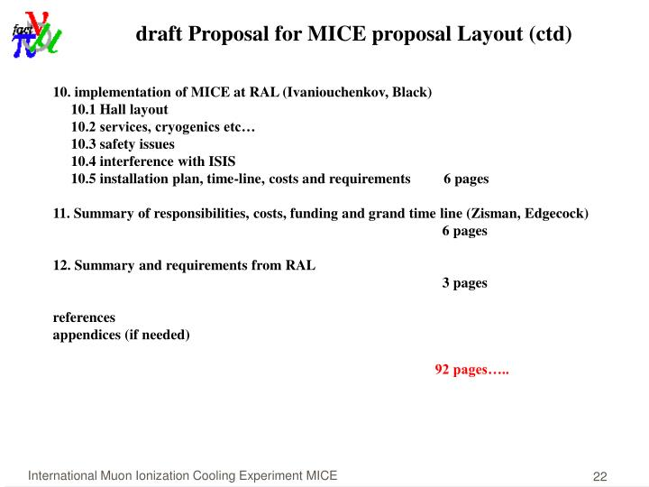 draft Proposal for MICE proposal Layout (ctd)