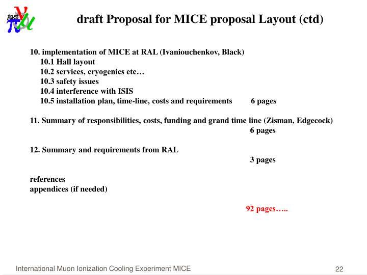draft Proposal for MICE proposal Layout (ctd)