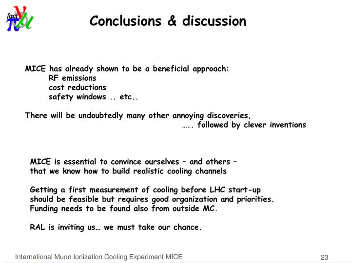 Conclusions & discussion