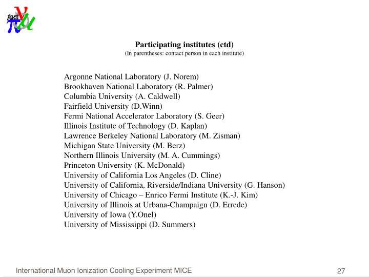Participating institutes (ctd)