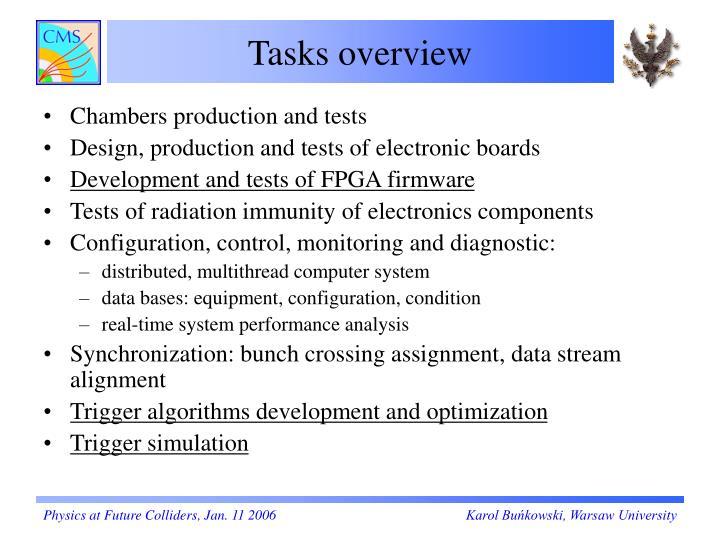 Tasks overview
