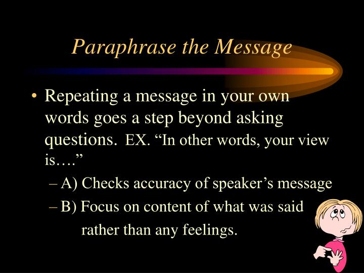 Paraphrase the Message