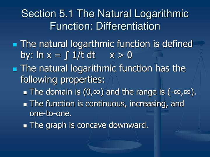 Section 5.1 The Natural Logarithmic Function: Differentiation