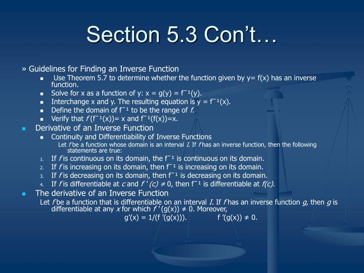 Section 5.3 Con't…