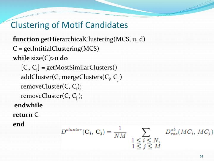 Clustering of Motif Candidates