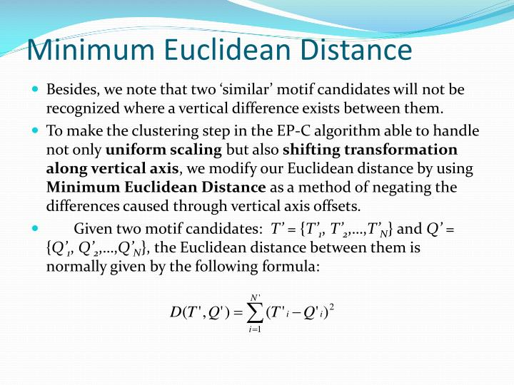 Minimum Euclidean Distance
