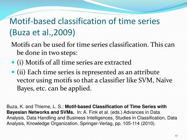 Motif-based classification of time series