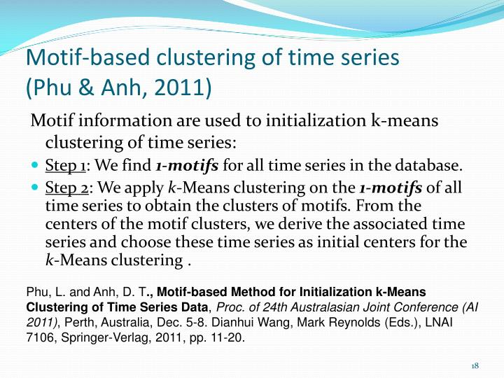 Motif-based clustering of time series