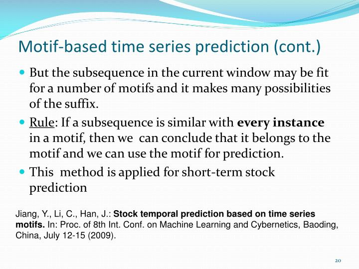 Motif-based time series prediction (cont.)