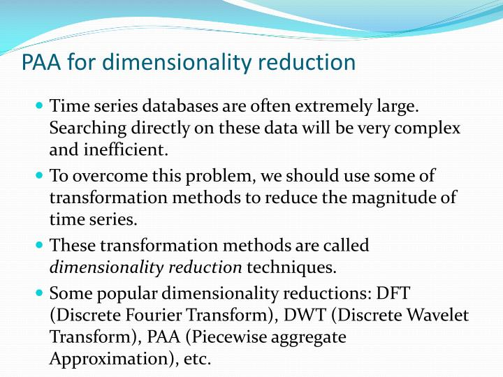 PAA for dimensionality reduction