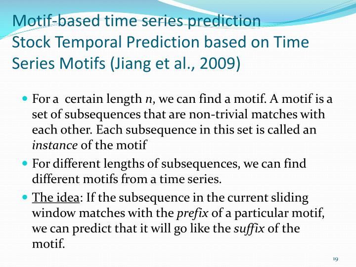 Motif-based time series prediction