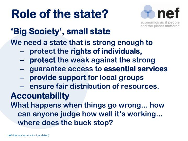 Role of the state?