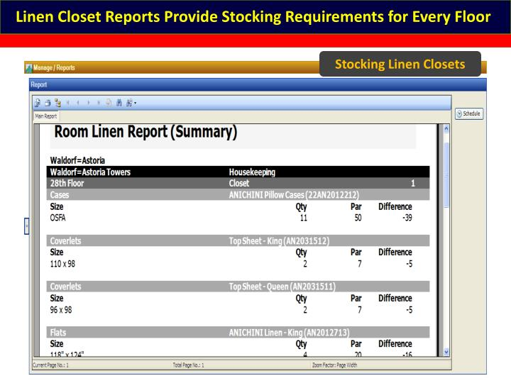 Linen Closet Reports Provide Stocking Requirements for Every Floor