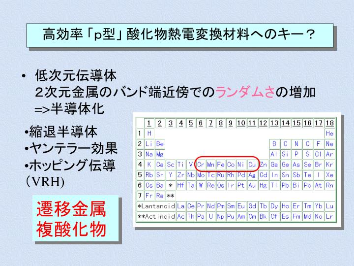 高効率 「p型」 酸化物熱電変換材料へのキー?