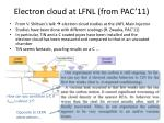 electron cloud at lfnl from pac 11