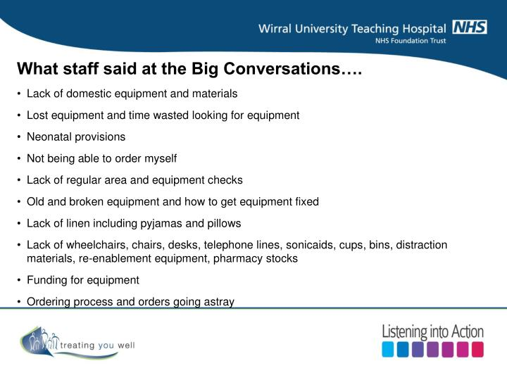 What staff said at the Big Conversations….