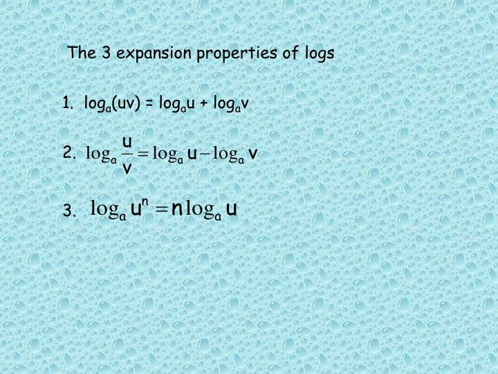 The 3 expansion properties of logs