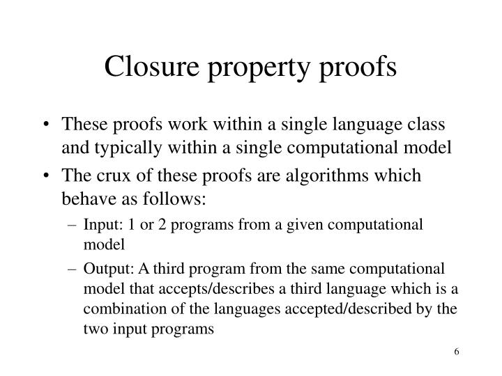 Closure property proofs
