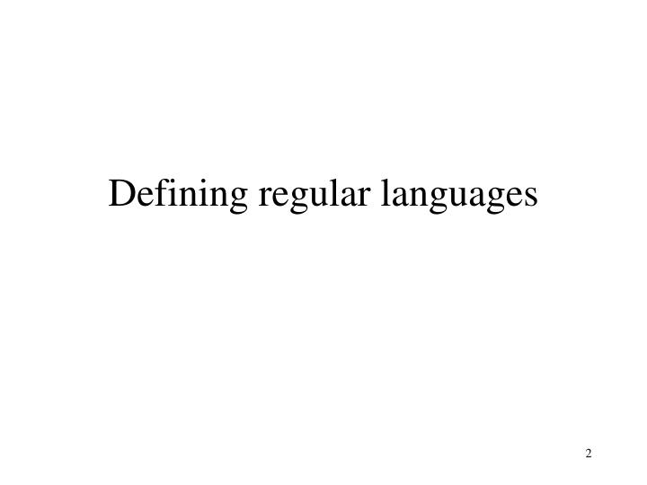 Defining regular languages