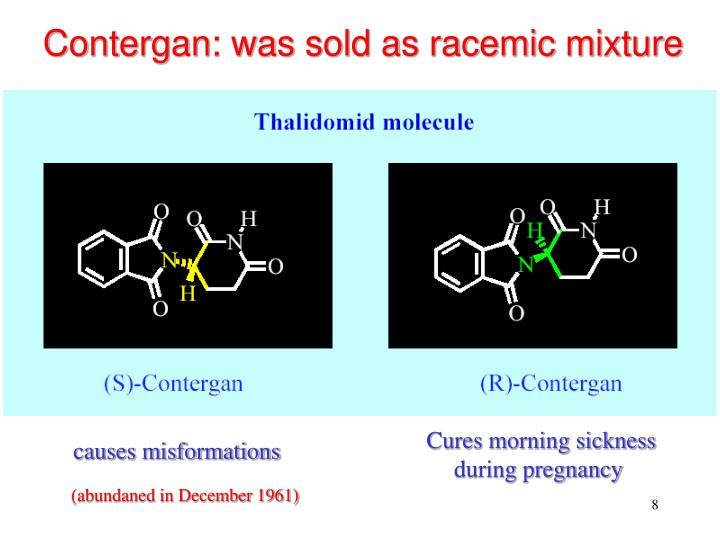 Contergan: was sold as racemic mixture