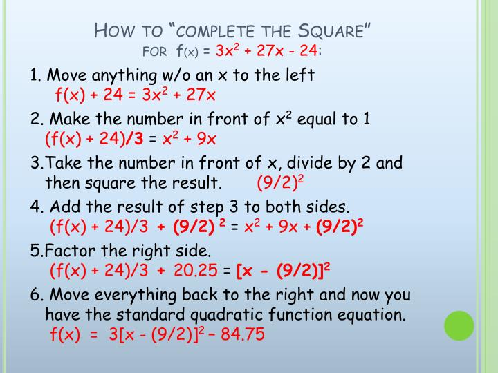 How to complete the square for f x 3x 2 27x 24