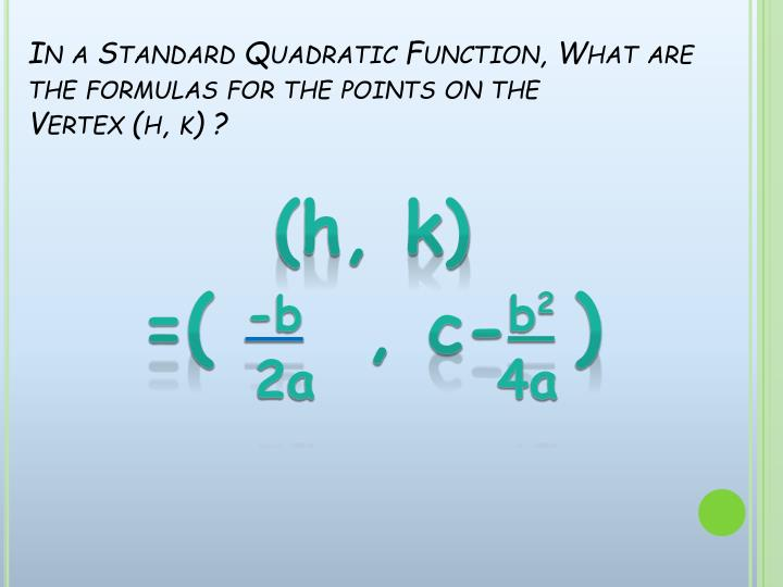 In a Standard Quadratic Function, What are the formulas for the points on the