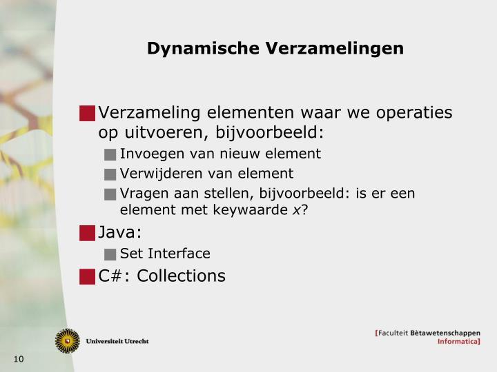 Dynamische Verzamelingen