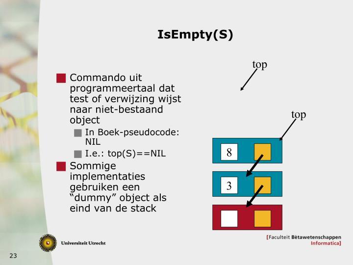 Commando uit programmeertaal dat test of verwijzing wijst naar niet-bestaand object