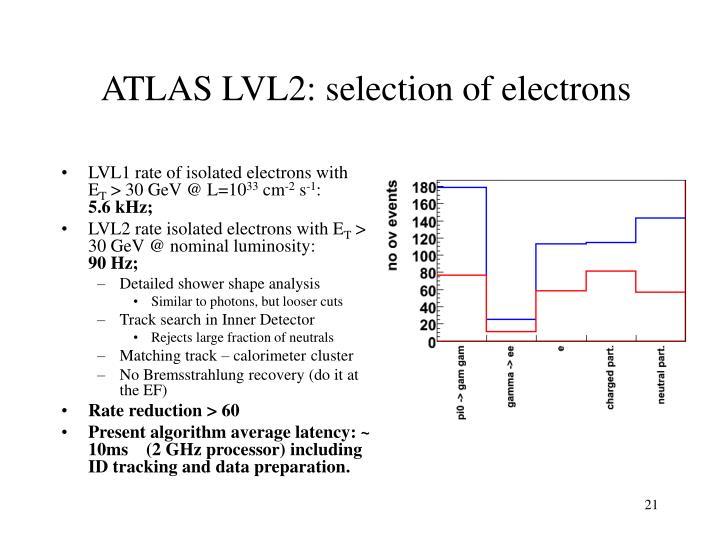 ATLAS LVL2: selection of electrons