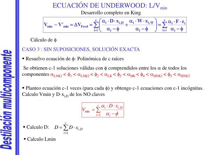 ECUACIÓN DE UNDERWOOD: L/V