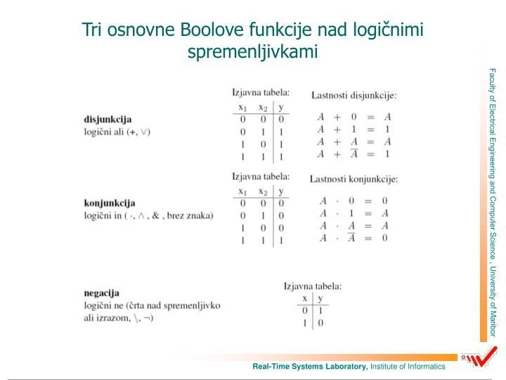 Tri osnovne Boolove funkcije nad logičnimi spremenljivkami