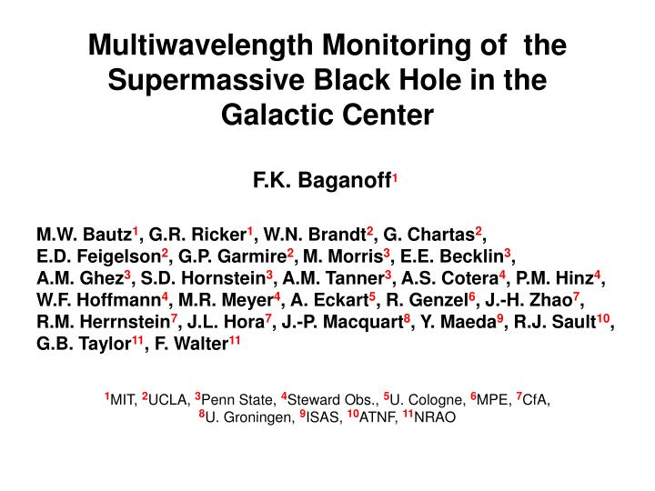 Multiwavelength Monitoring of  the Supermassive Black Hole in the