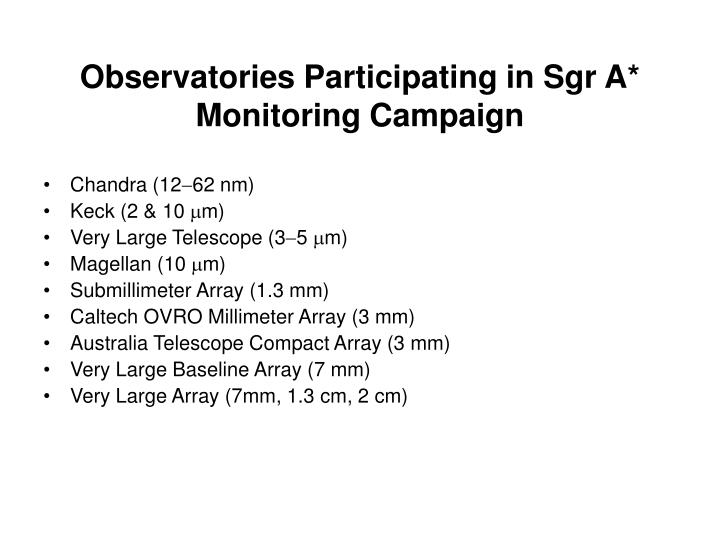 Observatories Participating in Sgr A* Monitoring Campaign