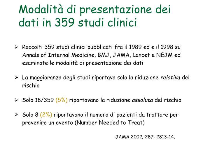 Modalità di presentazione dei dati in 359 studi clinici