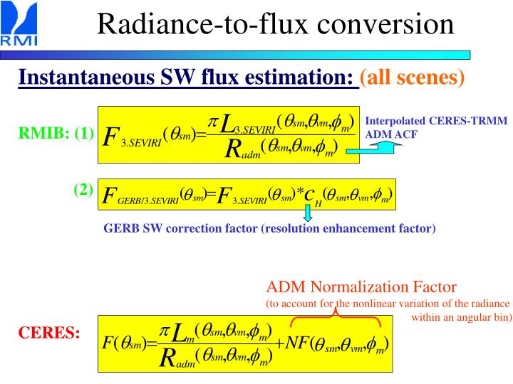 Radiance-to-flux conversion