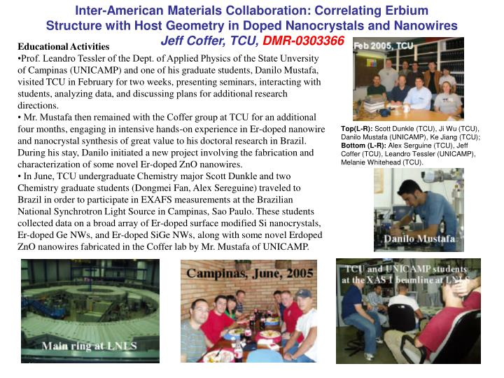 Inter-American Materials Collaboration: Correlating Erbium