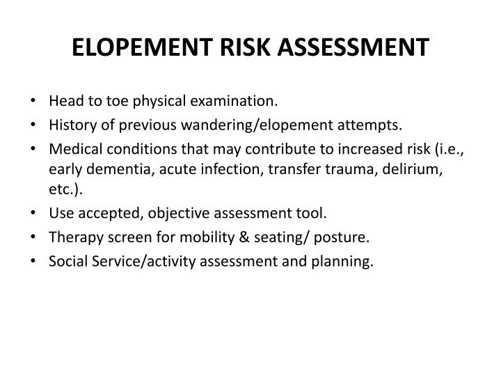 ELOPEMENT RISK ASSESSMENT